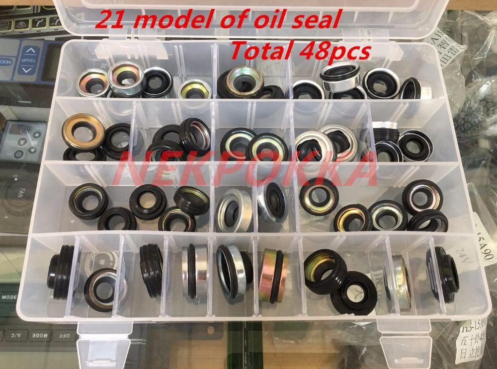 48Pieces automobile air conditioning compressor oil seal set for FS10 7SUB16 MAS90/105 A32 DKS32C 10PA15C/17C HCC V5 shaft seal