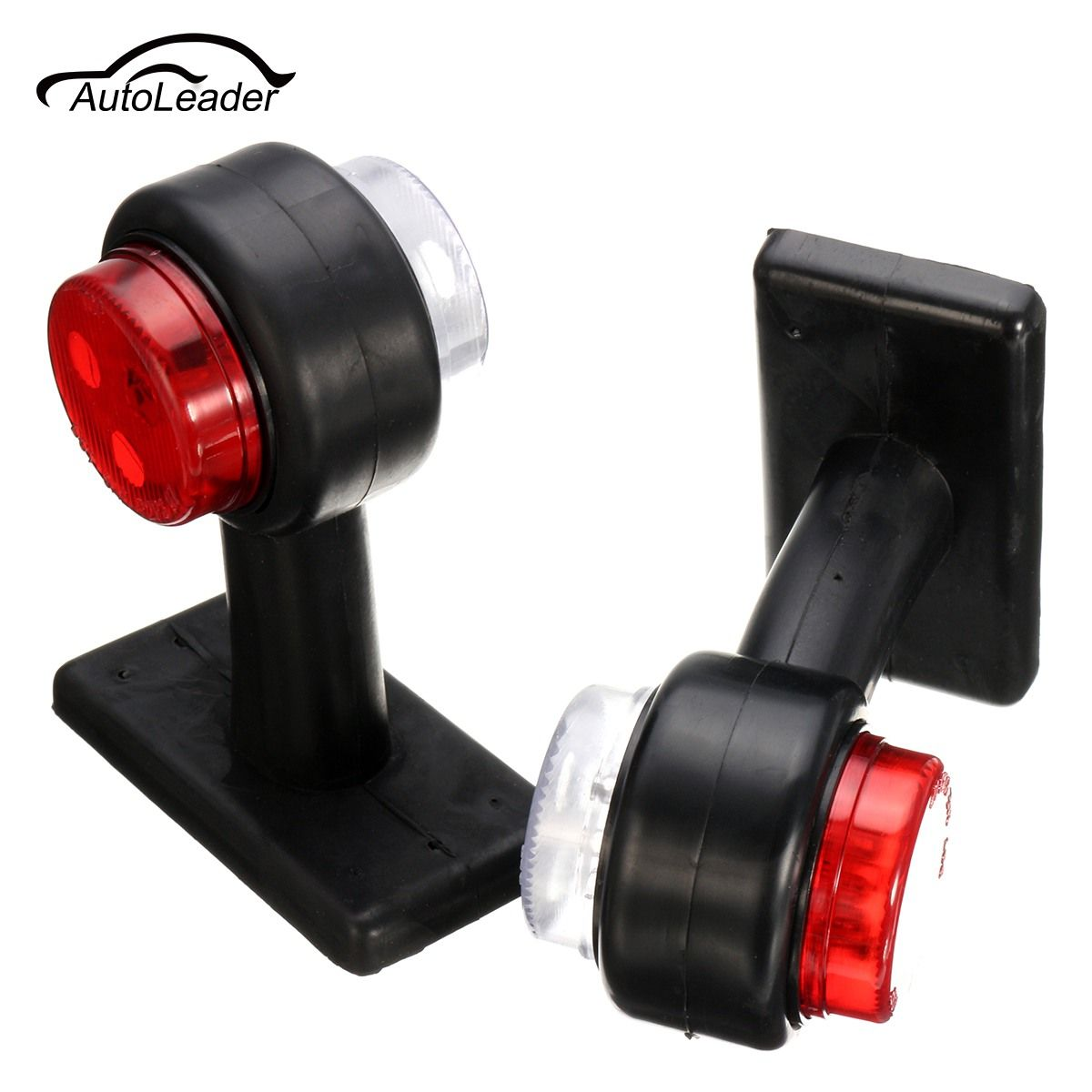 A Pair Truck Trailer Caravan 12V/24V LED Double Side Marker Clearance Light Warning Lamp Red& White