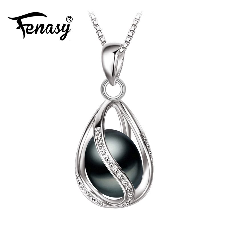 FENASY Promotion Black Pearl Pendant AAAA trendy natural pearl necklace & pendant ,pink pearl necklace for women pearl jewelry