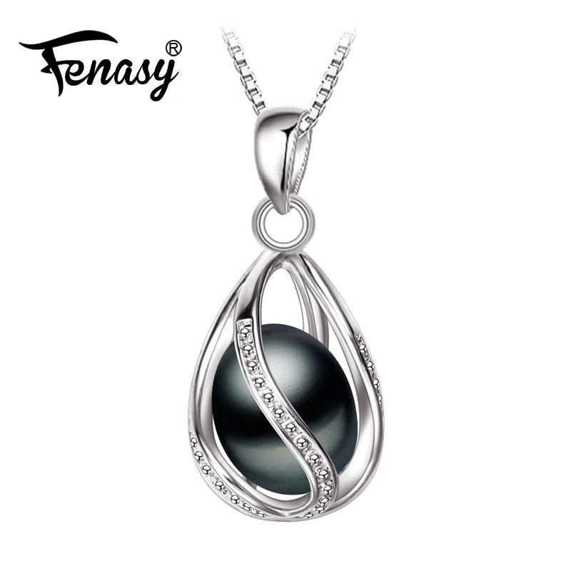 FENASY <font><b>Promotion</b></font> Black Pearl Pendant AAAA trendy natural pearl necklace & pendant ,pink pearl necklace for women pearl jewelry