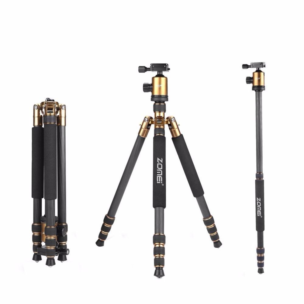 Z818C Portable travel tripod 3-Way Ball Head Carbon fiber Camera Tripod Stand for Canon Nikon Sony Digital SLR DSLR Camera