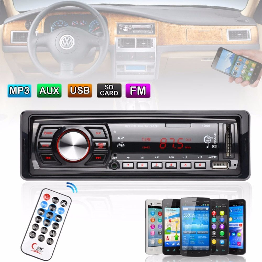 In-Dash FM Car Input <font><b>Receiver</b></font> Stereo 50W x 4 LCD Display SD USB MP3 WMA Radio Player New Arrival
