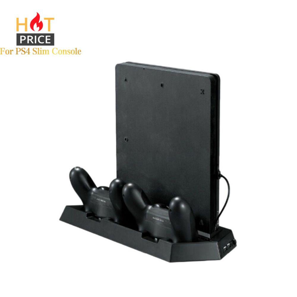 Graine D'alliage Jeu Console Stand POUR PS4 Mince Console Vertical Jeu Console Stand Dock Avec double station de charge livraison directe