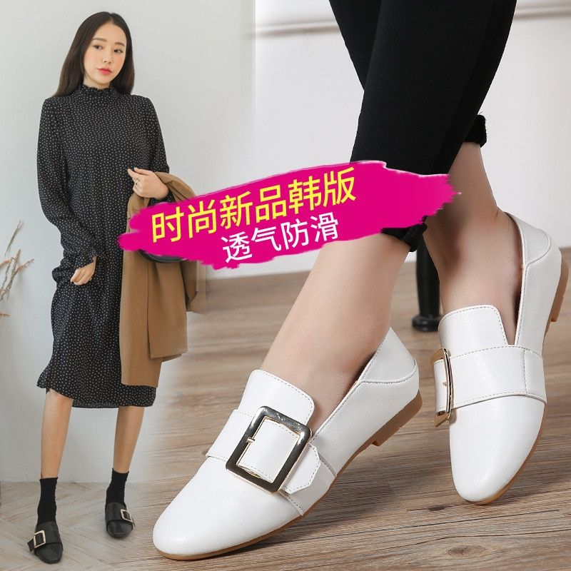 Bottom Square Buckle Single Restore Ways Wind Small Leather Set Foot Loafer-ALEX