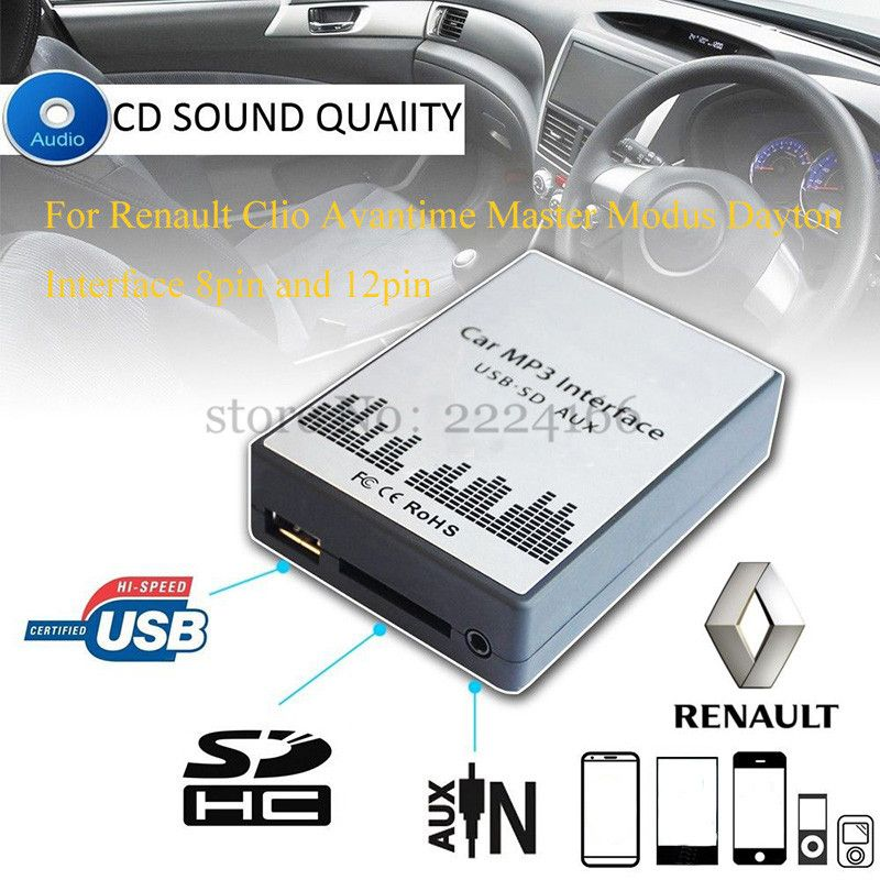 SITAILE USB SD AUX car MP3 music player Adapter for Renault Clio Avantime Master Modus Dayton 8in 12pin Interface Car-styling