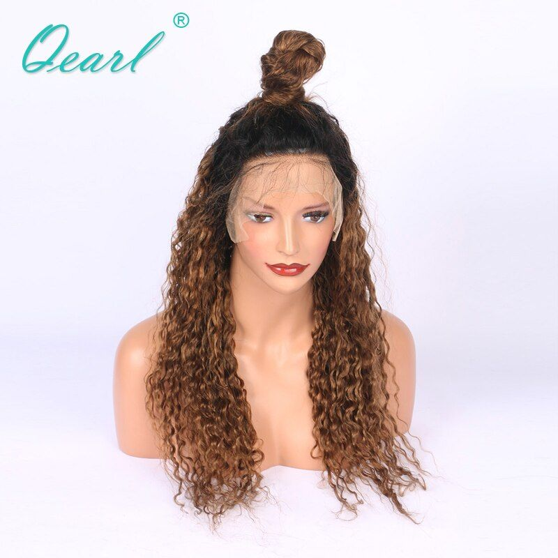 Thick 180% Density Ombre 1b/30#Brazilian Hair Curly Lace Front Wigs With Baby Hair +Pre-Plucked Hairline Human Hair Wig