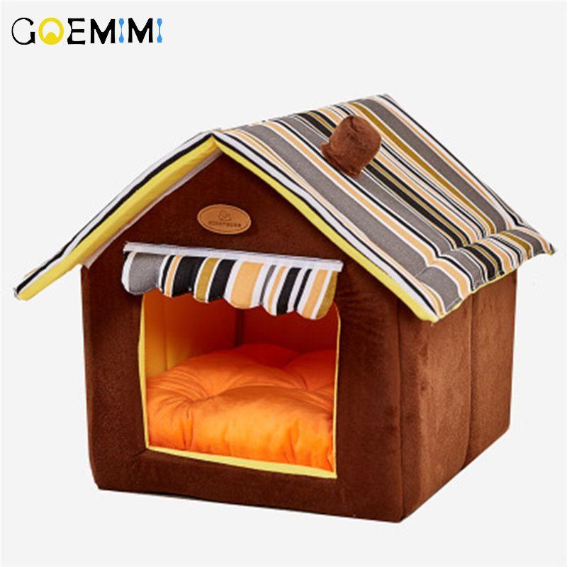 Nouvelle maison forme pliable pour animaux de compagnie chat grotte maison chat chaton lit Cama Para Cachorro doux hiver chaud chiens chenil nid chien pour chats