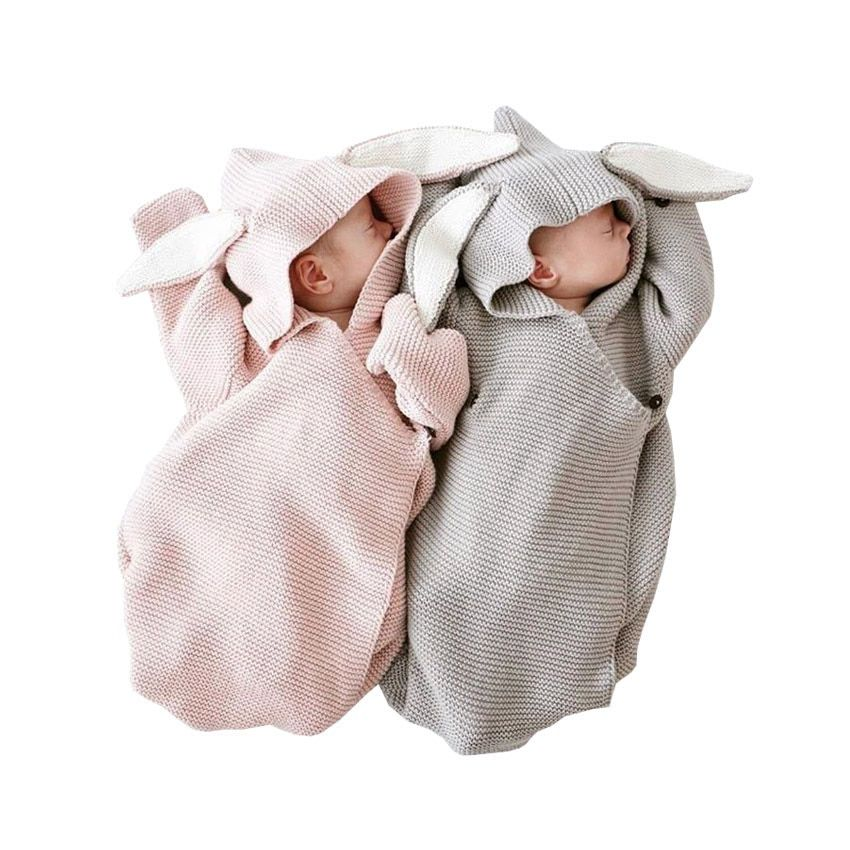 Autumn Einter New Baby Romper Bunny Ears Knitted Baby Sleeping Bag Is Stereo Baby Clothes for Newborns Baby GIFT Clothes