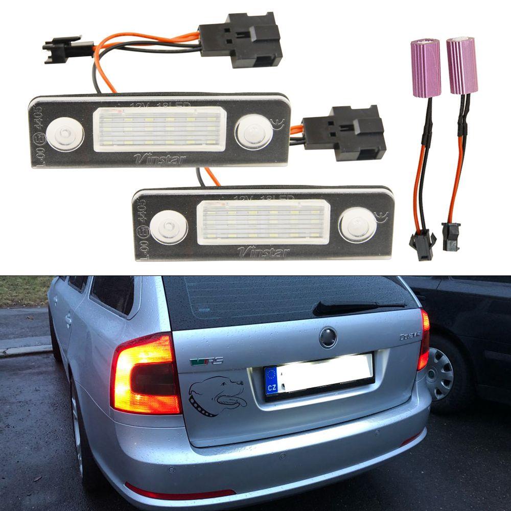 2X Car White Canbus Error Free LED License Plate Light for Skoda Octavia Roomster 5J Auto Warning Lamp