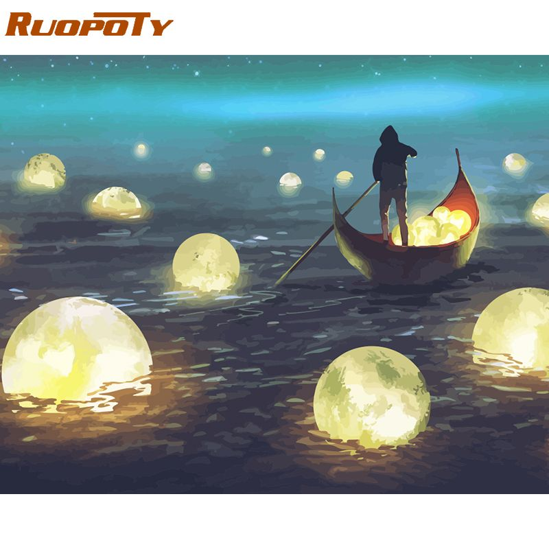 RUOPOTY Frame River Light DIY Painting By Numbers Kit Landscape Acrylic Paint By Numbers On Canvas Handpainted Oil Painting Gift