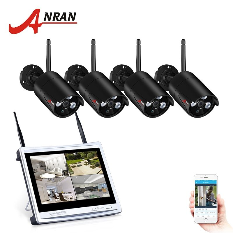 ANRAN 4CH CCTV System Wireless 960P 12 Inch NVR Security Camera System With 1.3MP IR Outdoor P2P Wifi IP Camera Surveillance Kit