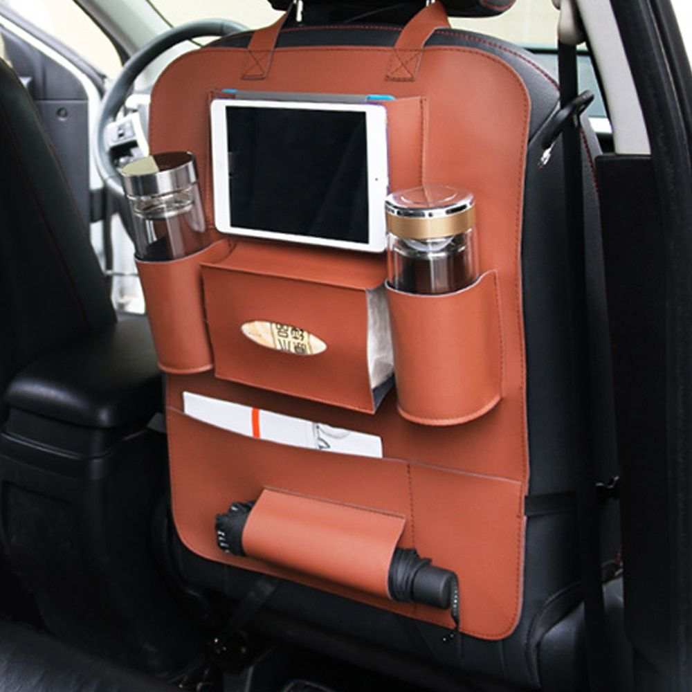 Car Back Seat Organizer Stowing Tidying Storage Bag Bottle Container Phone Tablet Holder Multi-function Interior Accessories