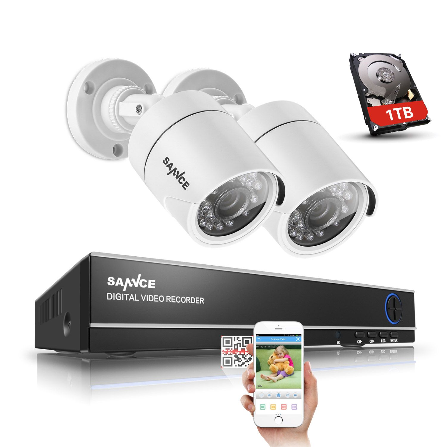 SANNCE 4 Channel 720P DVR CCTV Camera System 1TB HDD 2PCS 1200TVL 720P IR Outdoor Security Camera System Surveillance Kit