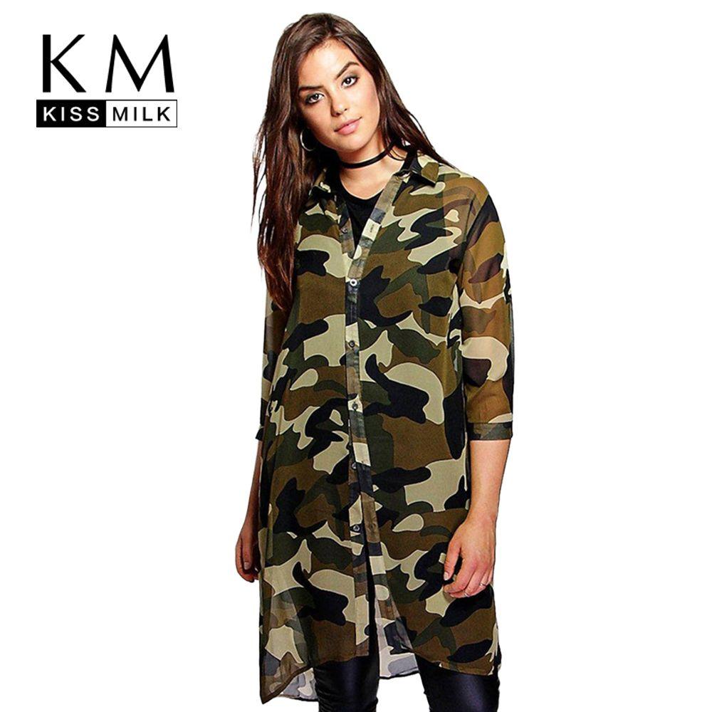 Kissmilk плюс Размеры Для женщин шифон Камо камуфляжная футболка платье 3/4 рукав Boyfriend Удлиненная рубашка Большой Размеры платье 3XL 4XL 5XL 6XL