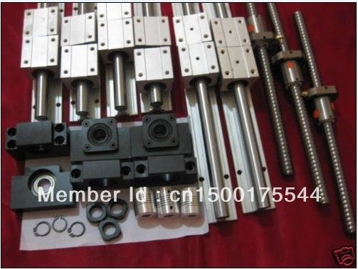 6sets SBR16 L300/1500/1500mm+ 3pcs SFU1605-L1550/1550/350mm+3 DSG16H nut holder+3 BK12/BF12 end bearings+ 3 couplers for cnc
