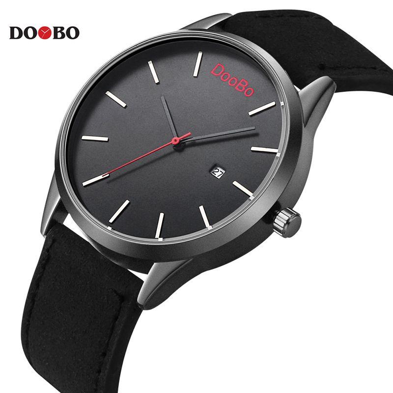 Top Luxury Brand DOOBO Hombres Deportes Relojes del Cuarzo de Los Hombres Fecha Reloj Hombre Militar Del Ejército Del Reloj Del Relogio masculino de Cuero