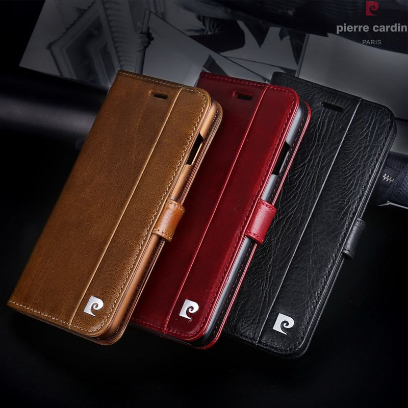 Pierre Cardin Brand For iPhone X Phone Case Genuine Leather Magnetic Book Flip Stand Wallet Card Holder Cover For iPhone X Cases