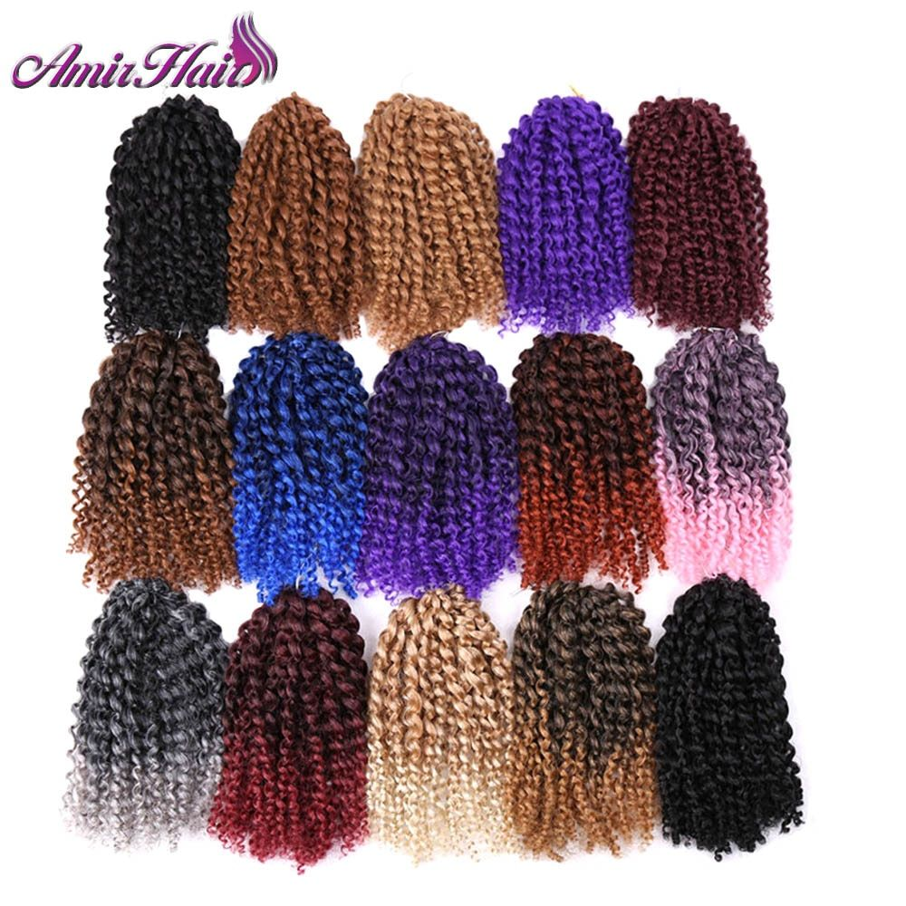 Amir Hair 8inch 3pcs/set Marly braid Synthetic Braiding hair with Ombre purple pink and blonde Malibob Crochet Hair extensions