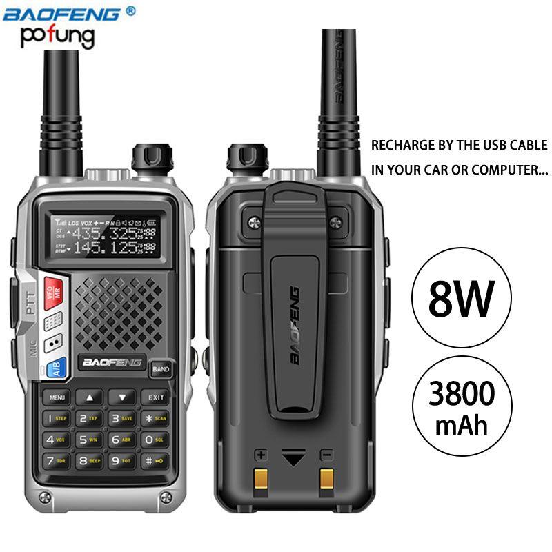 2PCS BaoFeng UV-B3 Plus Walkie Talkie Powerful CB Radio Transceiver 8W 10km Long Range Handheld Radio uv5r for hinking travel