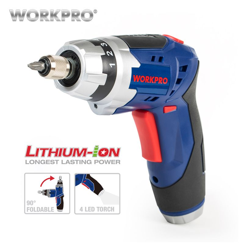 WORKPRO 3.6V Cordless Electric Screwdriver Household Rechargeable battery Screwdriver with Work Light