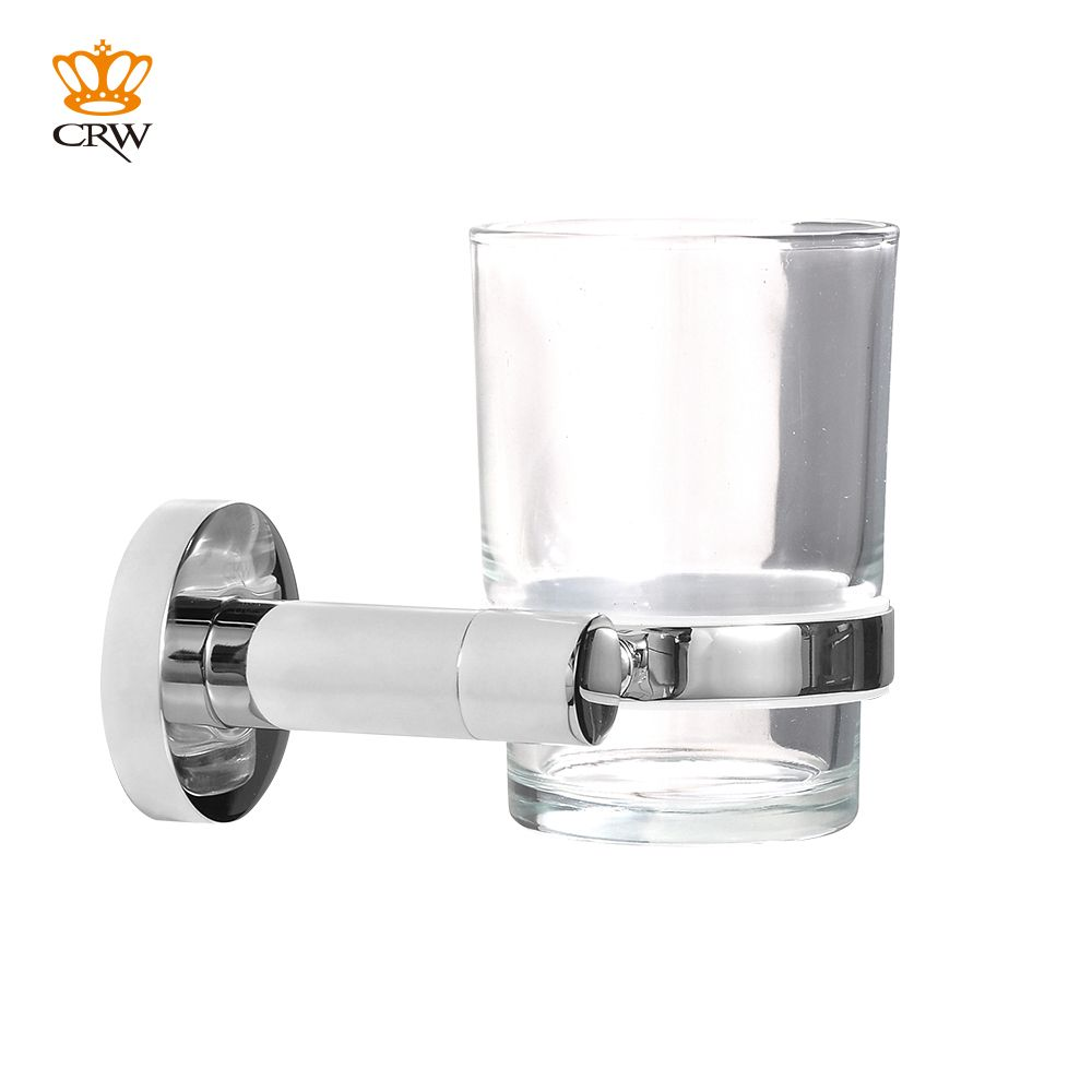CRW Wall Mounted Tumbler Single Glass Cup Holder Brass Chrome Toothbrush&Toothpaste Holder 90006