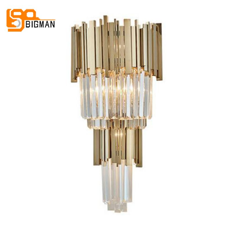 luxury crystal wall lamp modern wall lights AC110V 240V lustre cristal living room bedroom lighting