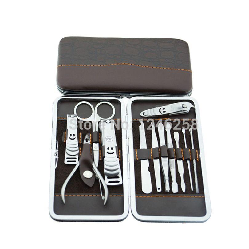 12 pièces Kit d'ongle professionnel manucure pédicure ensemble outils avec étui ongles pince fichier Earpick cuticule poussoir