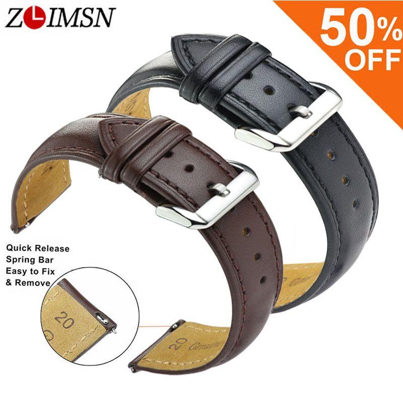 ZLIMSN Noir Brun En Cuir Véritable Montre De Remplacement De la Courroie Lisse Bracelet 18 20 22 24mm En Acier Inoxydable Boucle Relojes Hombre