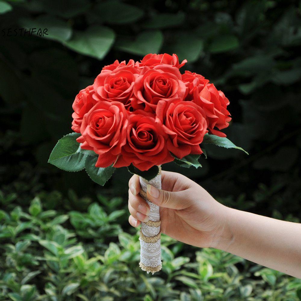 Wedding Bouquet Artificial Red Rose Flowers Bride Wedding Bouquet Bridesmaids Bouquet Holding Flowers Decor