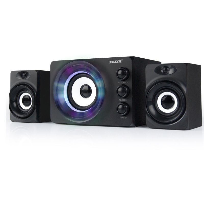 SADA D-206 Brand Mini Wired Portable Combination Speaker Colorful LED Column Multimedia Stereo Computer Speakers 2.1 USB Power