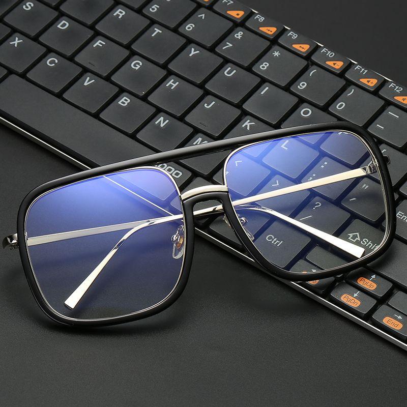 VCKA Anti lumière bleue lunettes cadre femmes surdimensionné métal cadre lunettes résistant aux rayonnements carré ordinateur hommes Gaming lunettes