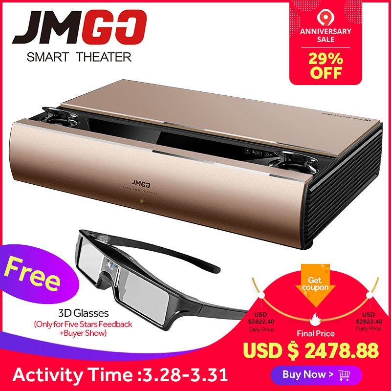 JMGO SA, Laser Projektor, 1920x1080 p, 2200 ANSI Lumen, Full HD Android Beamer, WIFI Proyector, Bluetooth Lautsprecher, 3D Projektor
