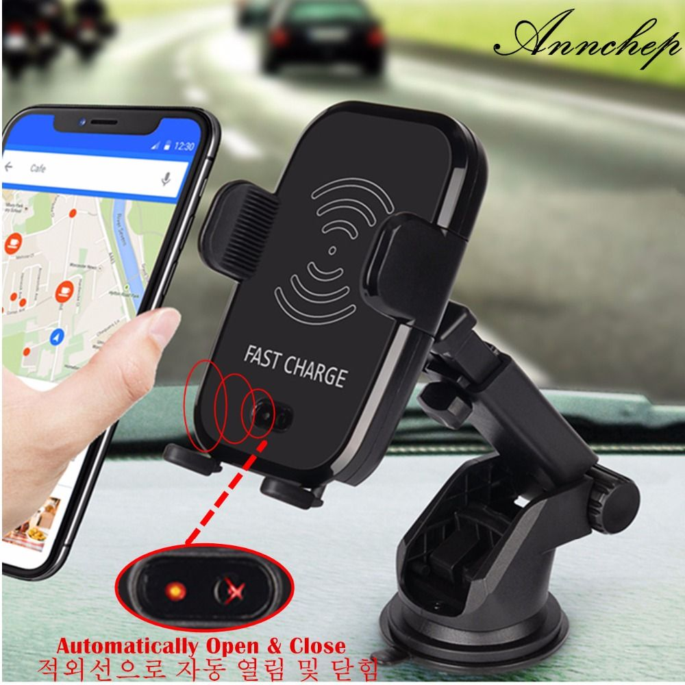 Annchep Car Infrared Sensor Automatic Qi Fast Wireless Car Phone Charger for iPhone X 8 Plus Samsung S9 S8 Plus S7 Note 8 Note5