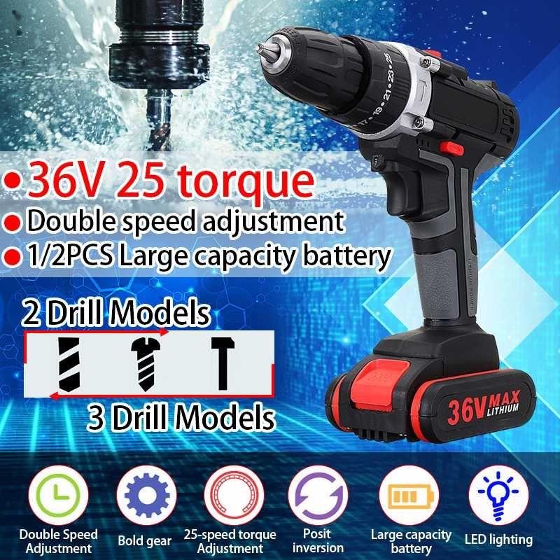 36 V 5000 mAh 5 ~ 28Nm couple à 25 vitesses Double vitesse sans fil électrique perceuse tournevis marteau LED éclairage