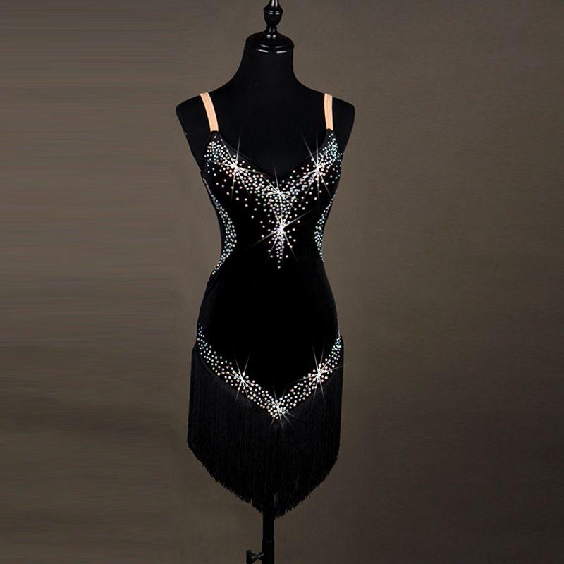 Female Sequin Sling Latin Dance Dress tango salsa rumba modern dance costumes Fringed Women Latin Dancing clothes Dancewear