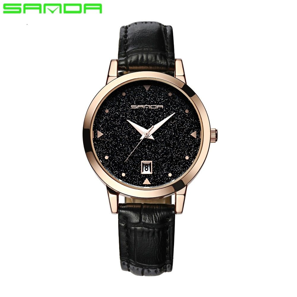 SANDA or diamant Montre à Quartz femmes dames célèbre marque de luxe doré Montre-bracelet Femme horloge Montre Femme Relogio Feminino