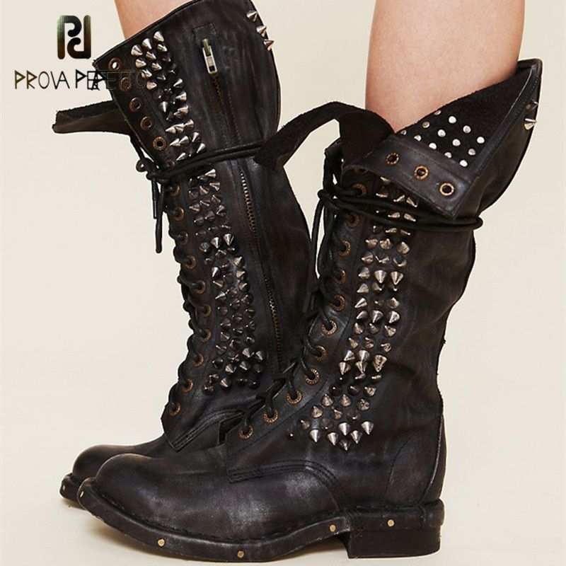 Prova Perfetto 2018 New Style Top Sale Cow Leather Full Rivet Retro Motorcycle Boots Thick Heels Black Round Toe Half Boots