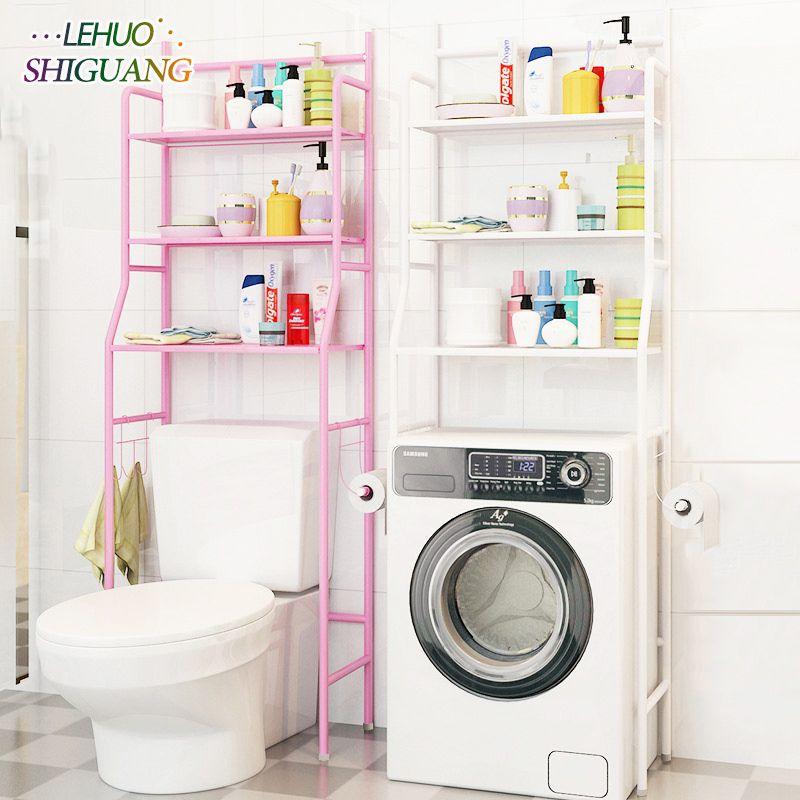 Salle de bains Étagères rack De Stockage Type de Plancher en acier Inoxydable Montage Simple peut être enlevé déplacer machine à laver Plateau meubles
