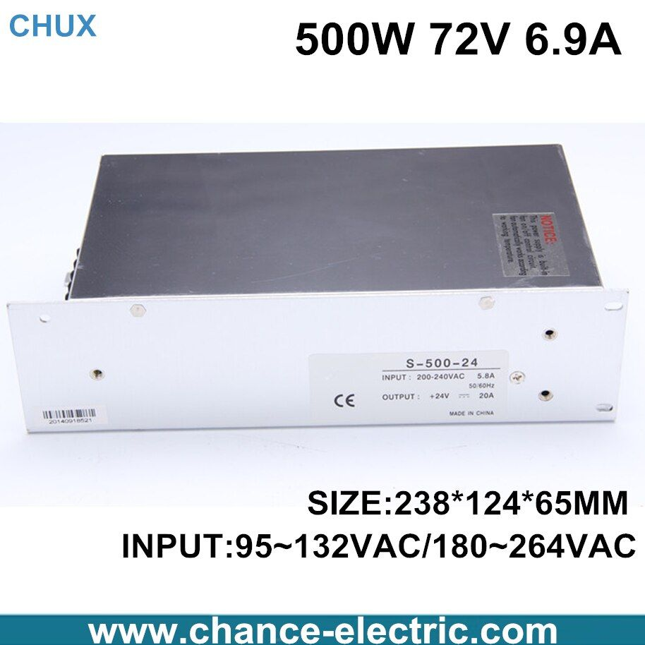 High power switching power supply 500W 72V 6.9A switching power supply AC to DC for LED strip light (S-500-72)