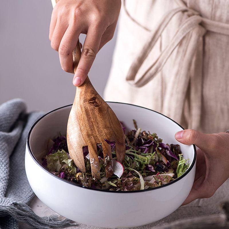 2 pièces cuillère en bois fourchette vaisselle ensemble grande cuisine en bois cuillère grande salade fourchette service cuillère ensemble ustensiles en bois outils de cuisson