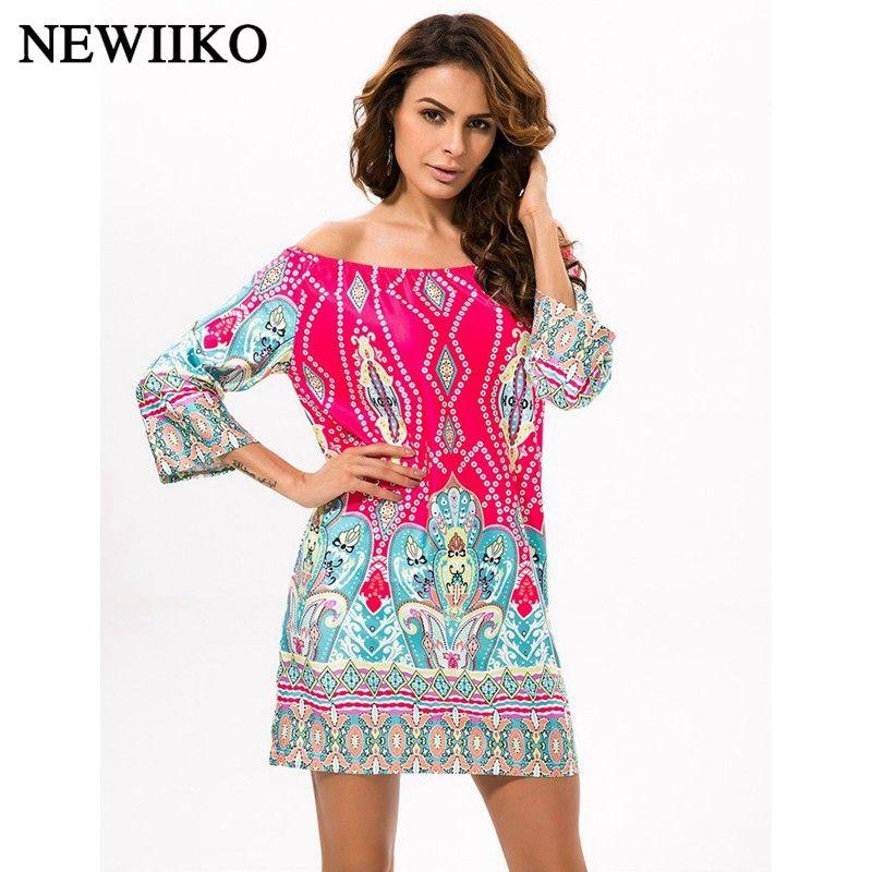 Nouvelle mode d'été femmes ethnique Sexy slash col cajou fleurs Paisley impression irrégulière bohême plage Style couleur mini robe