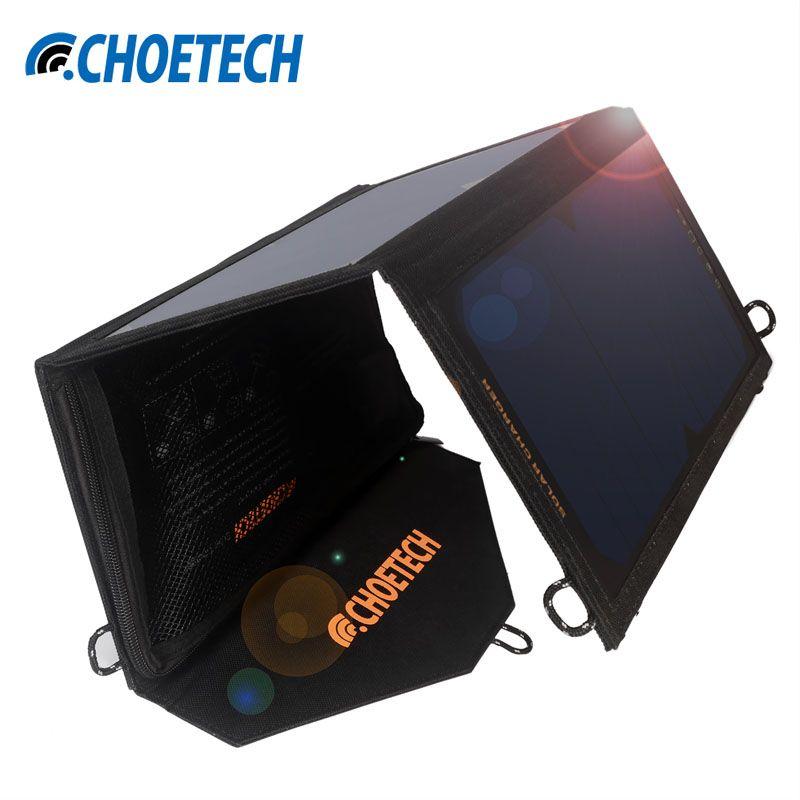 19 watt Solar Ladegerät CHOE Wasserdichte Faltbare Outdoor Solar Panel Batterie USB Ladegerät mit Auto Erkennen Tech Für iPhone 8 7 7 Plus