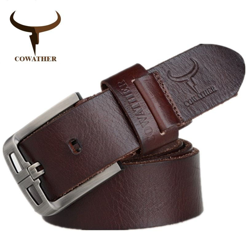 COWATHER 2017 Top Cow <font><b>genuine</b></font> leather belts for men alloy buckle fashion style FULL GRAIN male belt free shipping