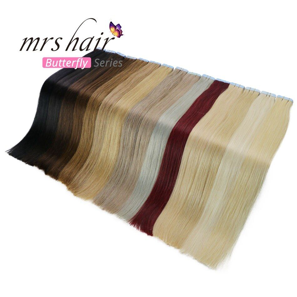 MRSHAIR Tape In <font><b>Human</b></font> Hair Extensions 16 18 20 22 24 Machine Made Remy Hair On Adhesives Tape PU Skin Weft Invisible 20pcs