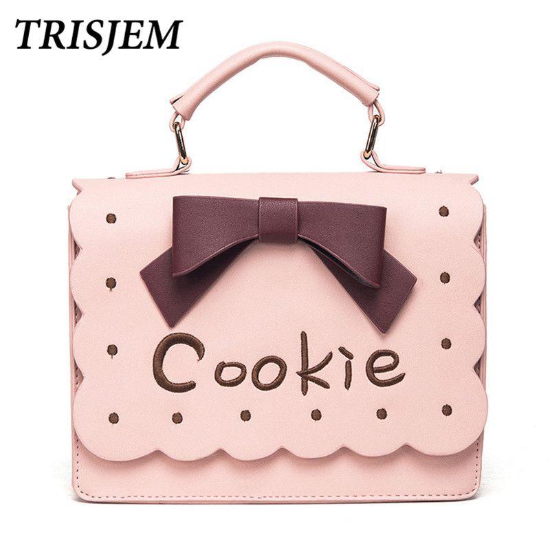 2018 Women Pink Kawai Embroidery Bags Handbags Lolita Bussiness Shoulder Bag Cute Toges Crossbody Bags For Women messenger bags