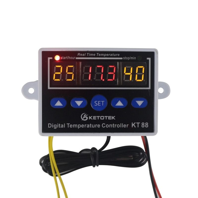 Digital Thermostat 12V 24V 110V 220V Temperature Controller Temperature Control Switch -19~99C Relay Output 10A 220V AC