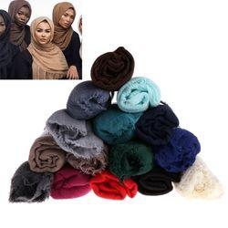 Femmes L'islam Maxi Froissé Nuage Hijab Écharpe Châle Musulman Longue Étole de Châle Wrap