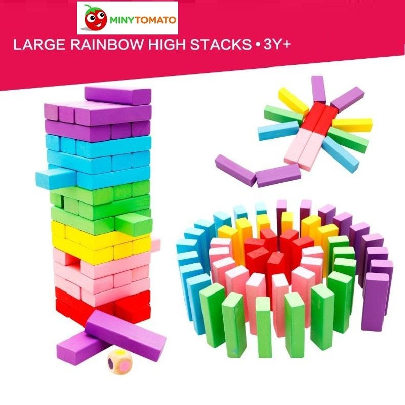 48pcs/set Colorful Wooden Domino Stacker Extract Jenga Tumbling Tower Stacking Blocks Game Inddor Toys for Bay Education