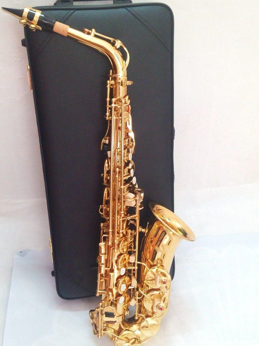 2018 New High Quality Alto Saxophone 62 E flat Gold Saxofone Musical Instruments Professional performances Free Shipping