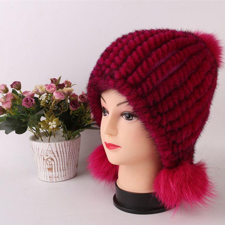 Russian Capnatural Fur Mink Wool Knit Hooded Hat Winter Fur Fox Fur Cap Cute Hat Russian Cap Bomber Hats For Women